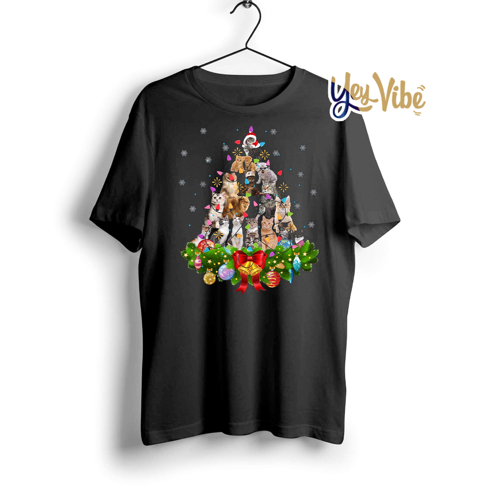 Cat Christmas Tree Xmas Shirt