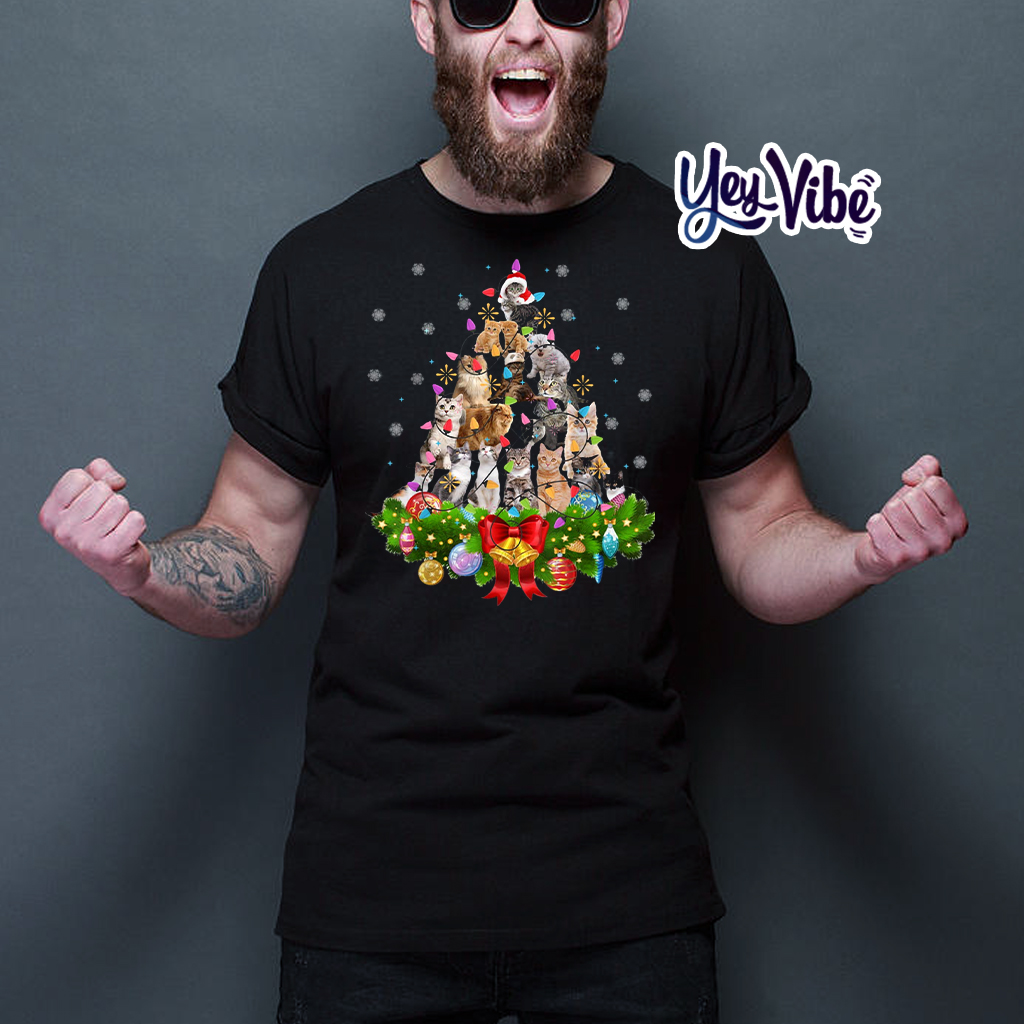 Cat Christmas Tree Xmas Shirts