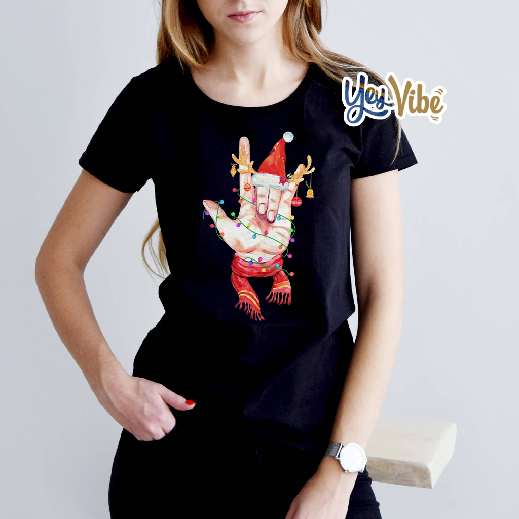 Sign language Santa reindeer Christmas shirts