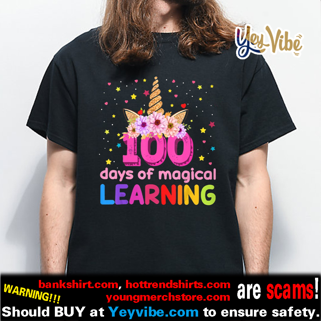 100 Days Of Magical Learning Flossing Unicorn shirt