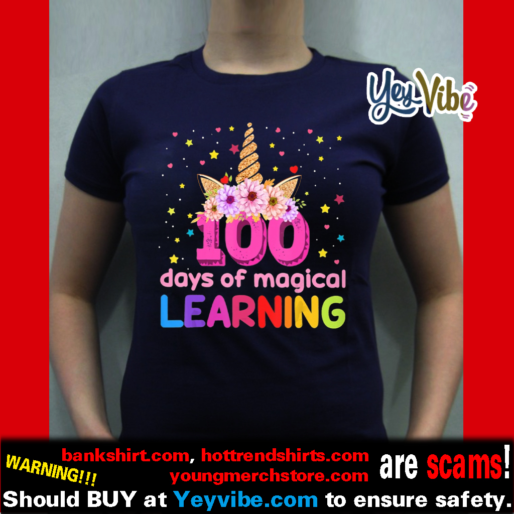 100 Days Of Magical Learning Flossing Unicorn shirts