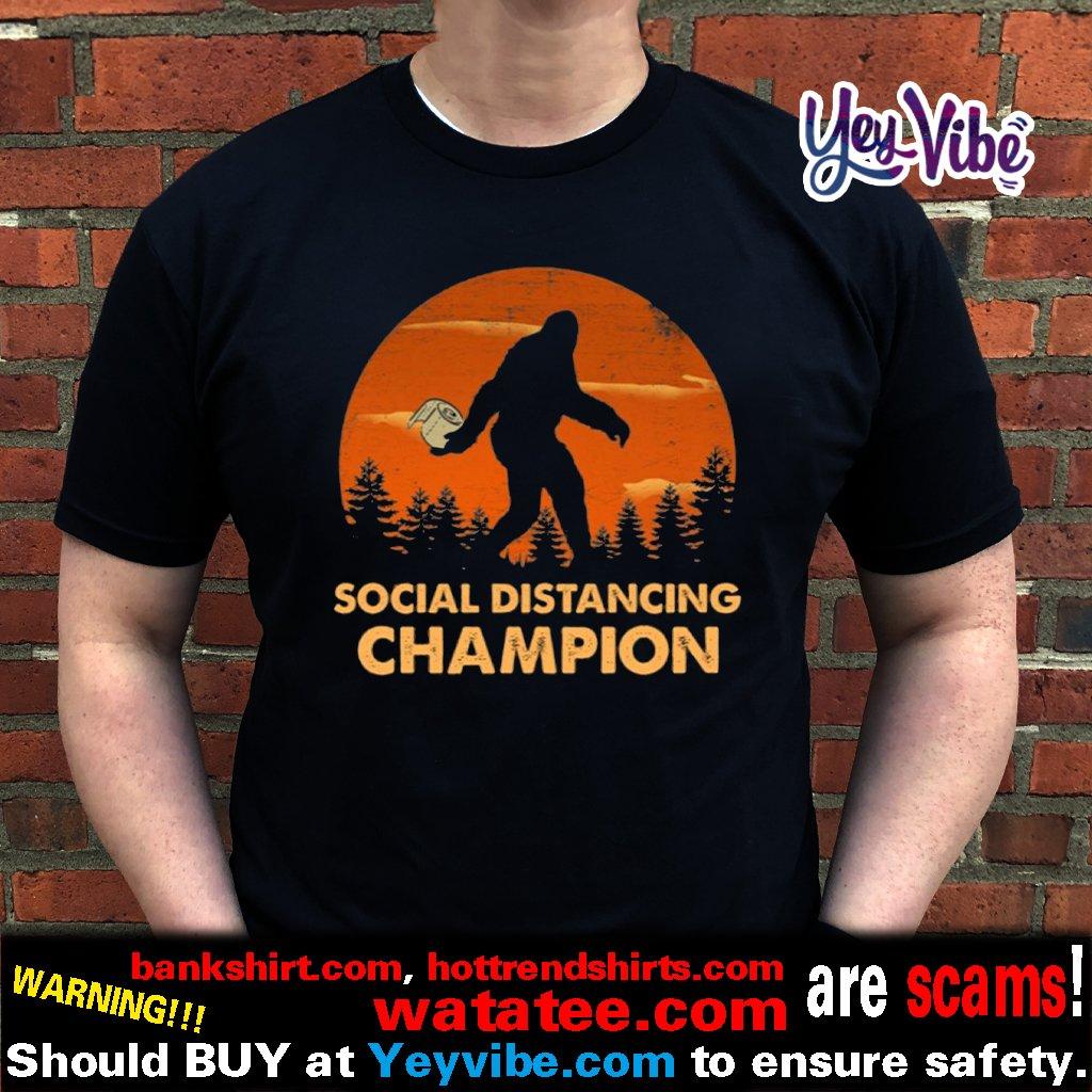 Bigfoot Toilet Paper Social Distancing Champion Sunset T Shirt