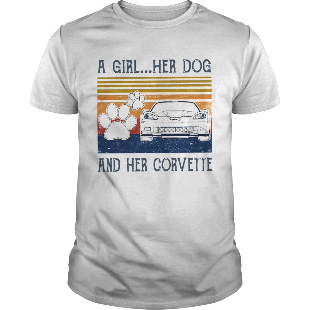 A Girl Her Dog And Her Corvette Vintage Unisex