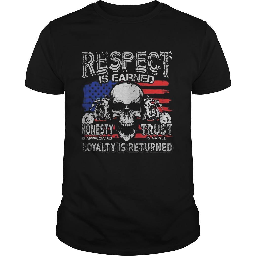 Skull motor respect is earned honesty is appreciated trust is gained loyalty is returned Unisex