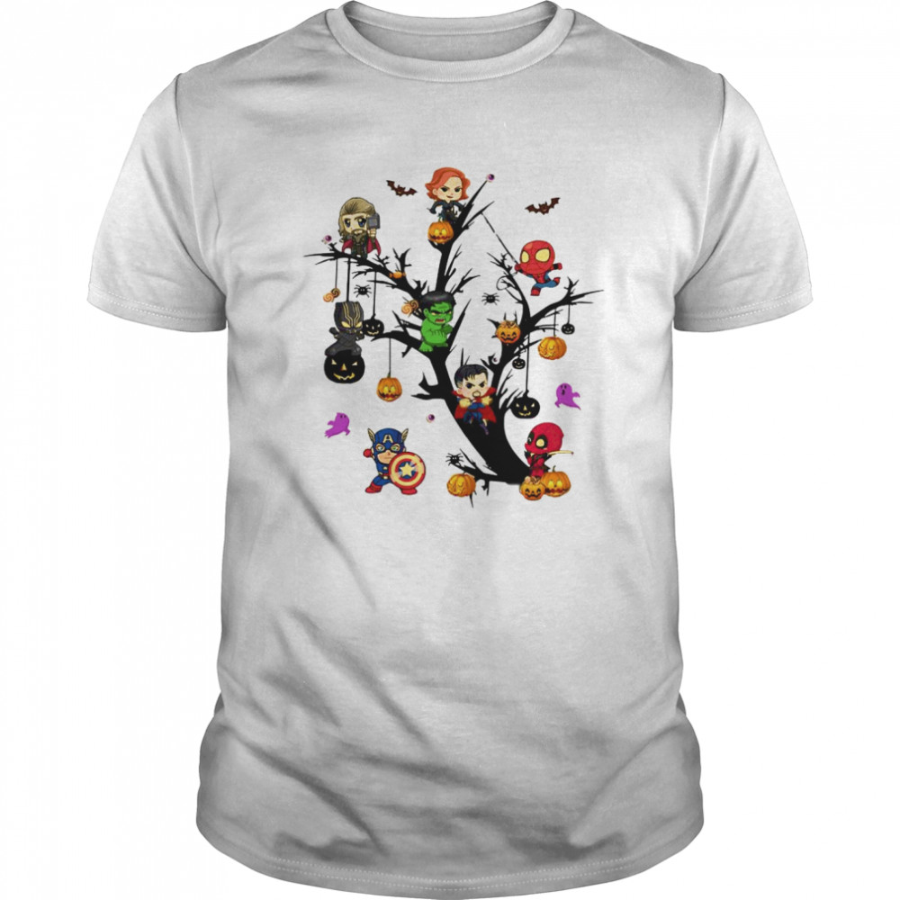 Avengers Superheroes Tree Halloween Pumpkin Classic Men's T-shirt