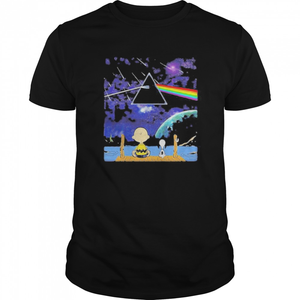 Charlie brown and snoopy seeing pink floyd band Classic Men's T-shirt