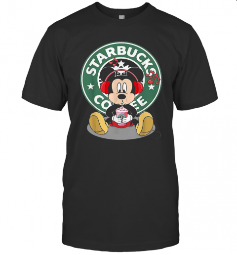 Mickey Mouse Drinking Starbucks Coffee And Listening Music T-Shirt Classic Men's T-shirt