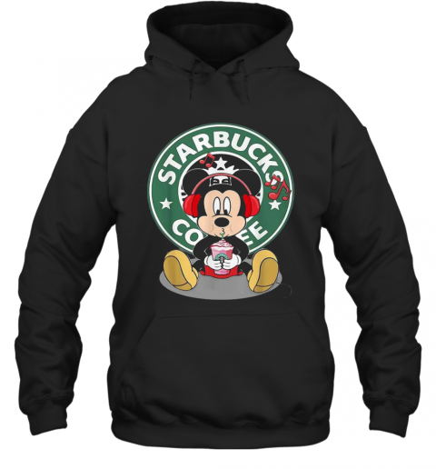 Mickey Mouse Drinking Starbucks Coffee And Listening Music T-Shirt Unisex Hoodie