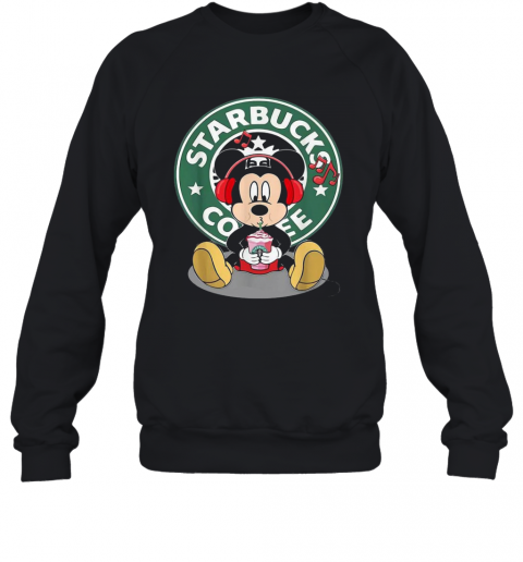Mickey Mouse Drinking Starbucks Coffee And Listening Music T-Shirt Unisex Sweatshirt