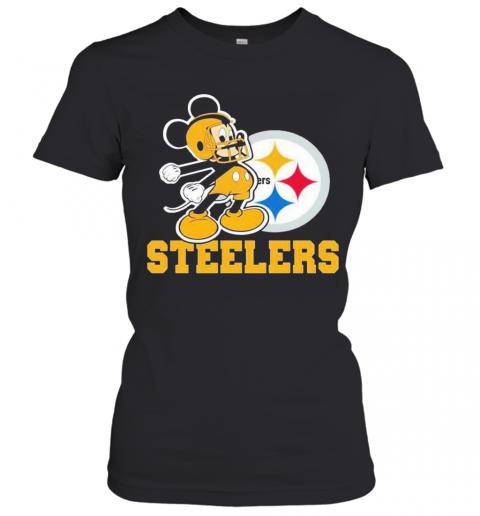 Mickey Mouse Pittsburgh Steelers Football Logo Team T-Shirt Classic Women's T-shirt