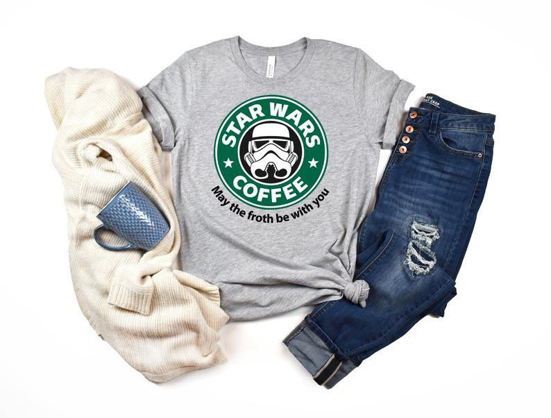 May The Froth Be With You Coffee Tee Shirt Star Wars Coffee Tee Shirt, Starbucks T-Shirt