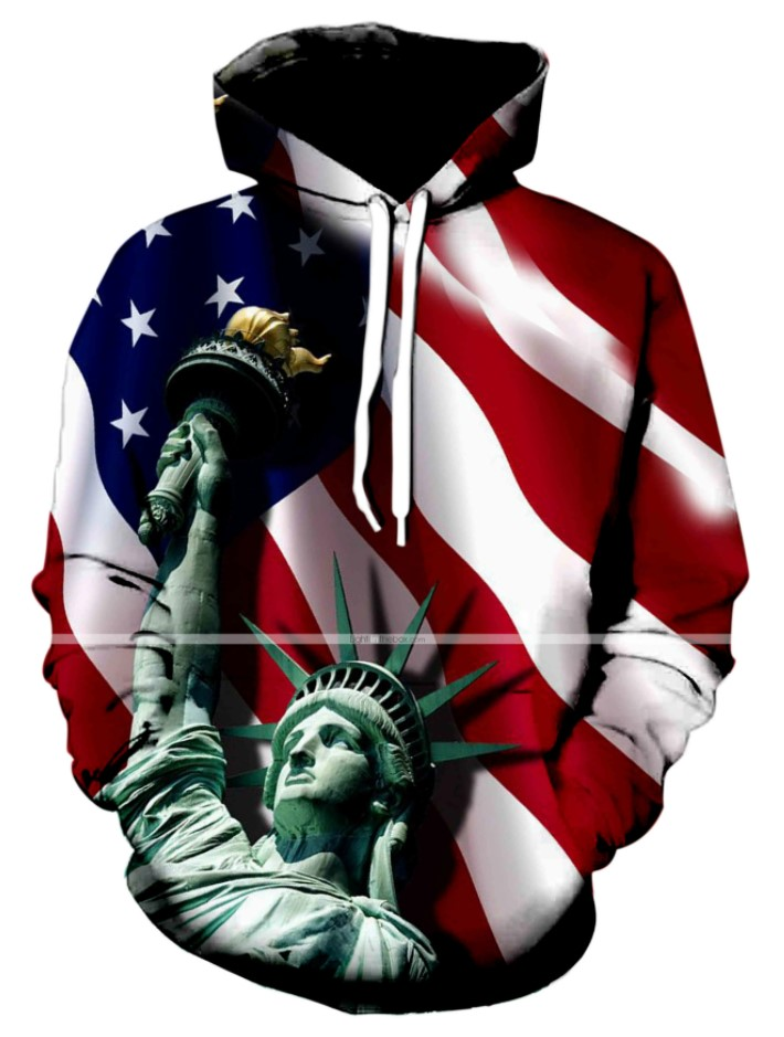 3D Print T-Shirts USA Flag Stripes and Stars Statue of Liberty Printed Shirt