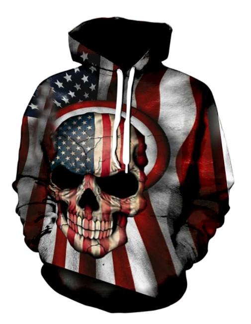 3D Skull American Flag Hoodies Shirt