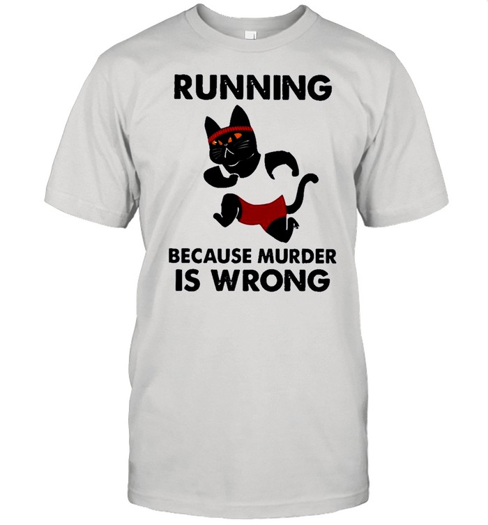 Black Cat running because murder Is wrong shirt Classic Men's T-shirt