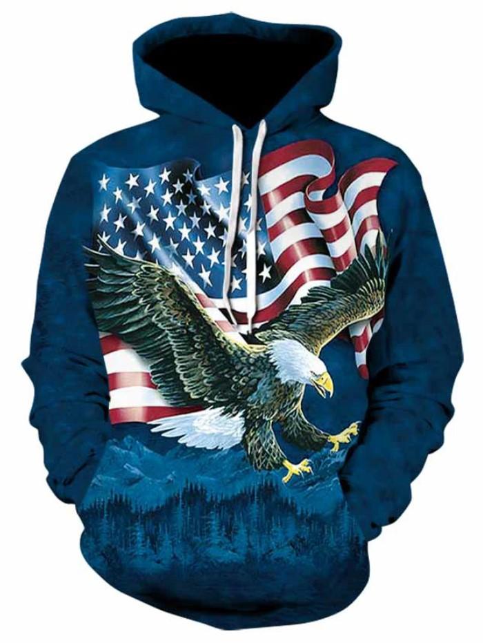Unisex 3D Printed Hoodies Pullover Hooded Sweatshirt American Flag Eagle Tops