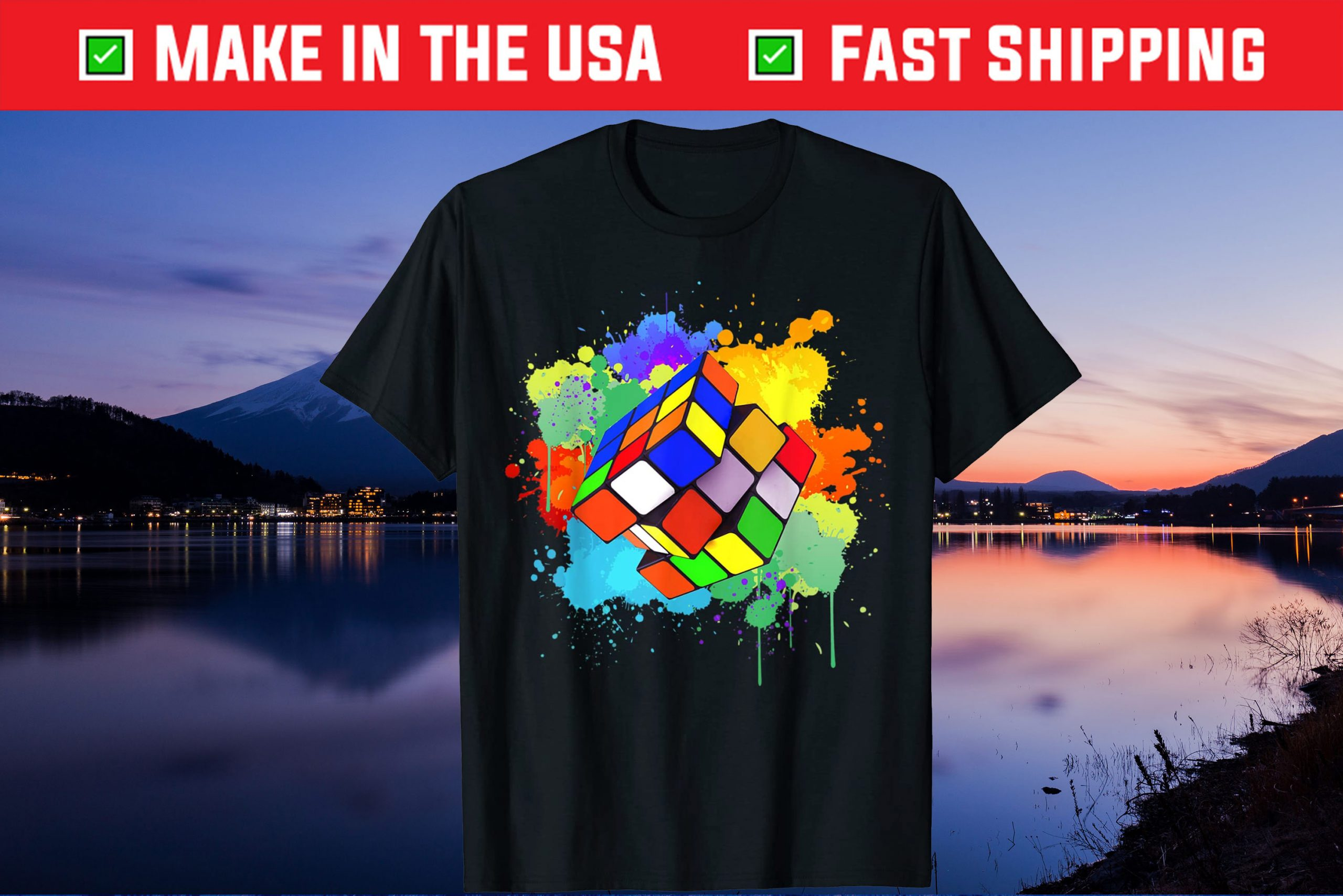 Cool Rubik Rubix Rubics Player Cube Watercolor Lovers Us 2021 T-Shirt